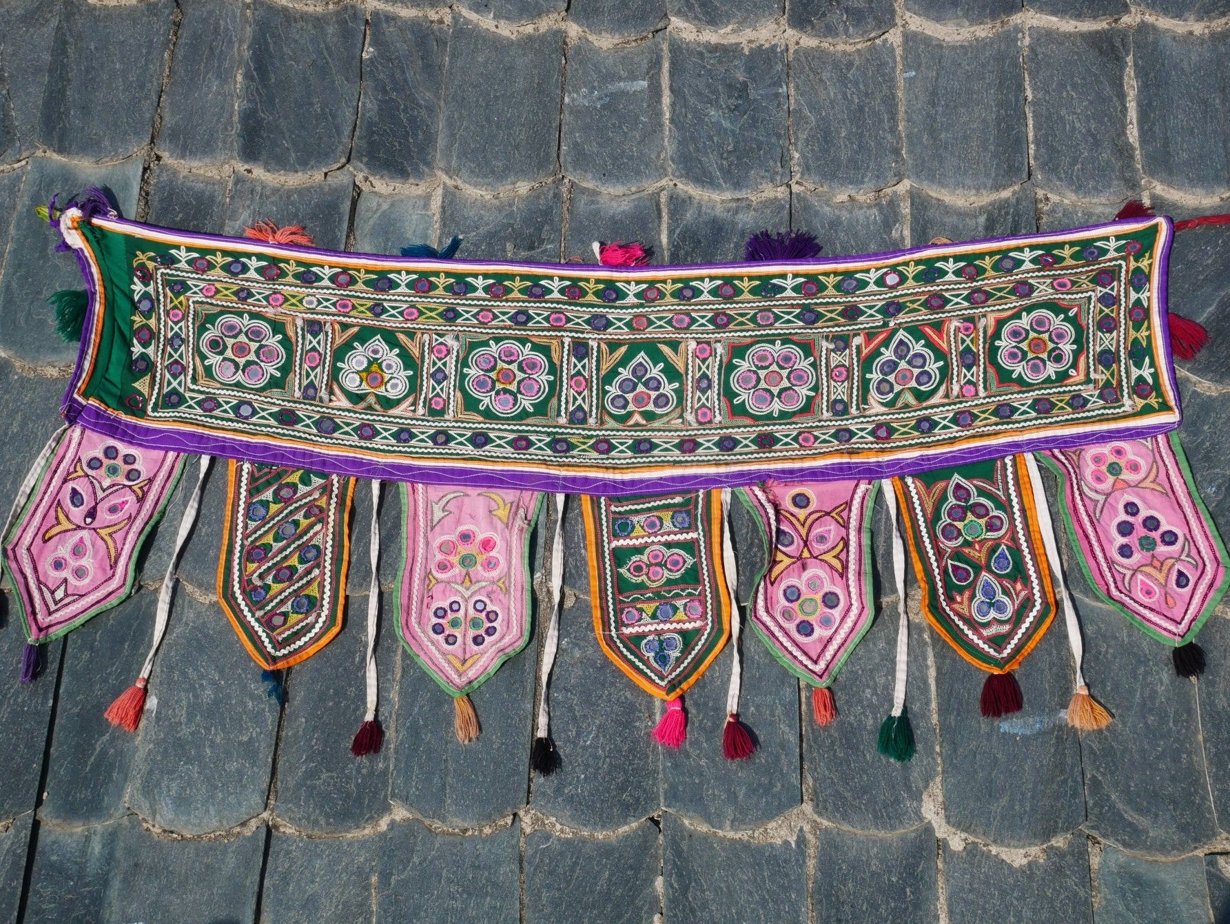 Vintage Indian toran, gypsy curtain, boho valance Banjara tribal tapestry