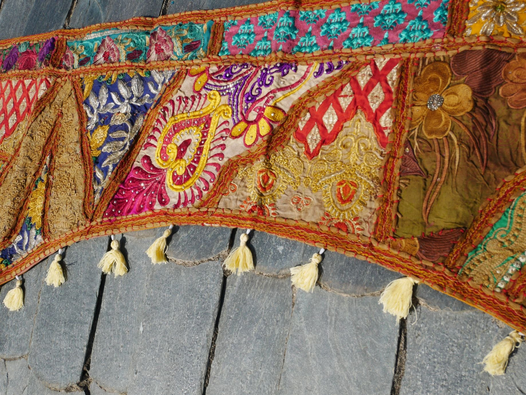 Large patchwork gypsy toran - masala window valance indian door hanging - ethnic tribal curtain