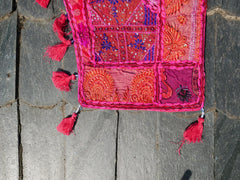 Large patchwork gypsy toran - pink window valance indian door hanging - ethnic tribal curtain