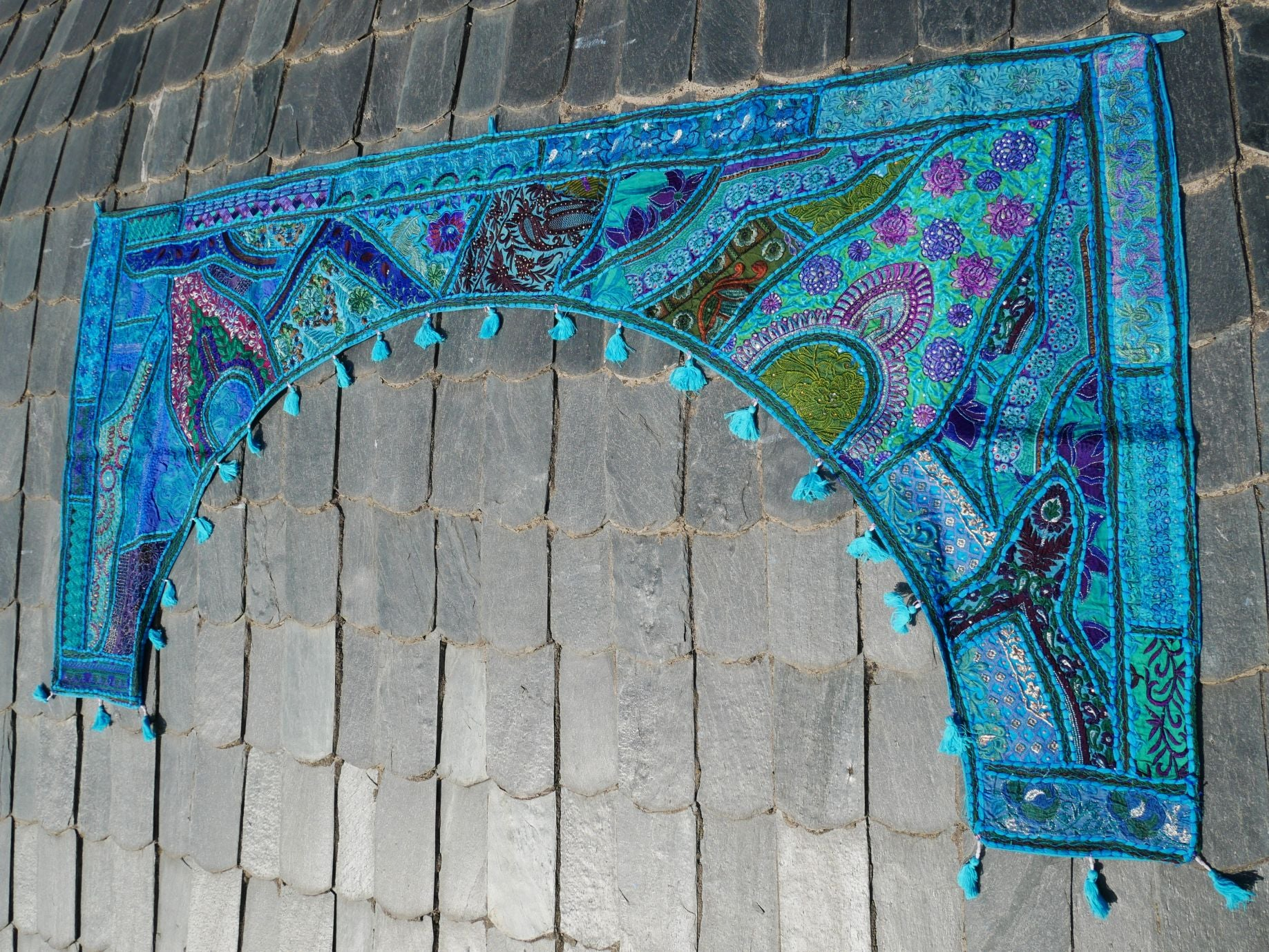 Large patchwork gypsy toran - blue window valance indian door hanging - ethnic tribal curtain