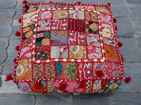 "Large square boho floor cushion ""Hippie love"" - bohemian decor cushion cover"