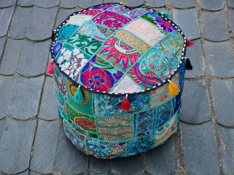 Floor pouf - floor cushion cover - Indian floor seating - patchwork floor pillow Blue