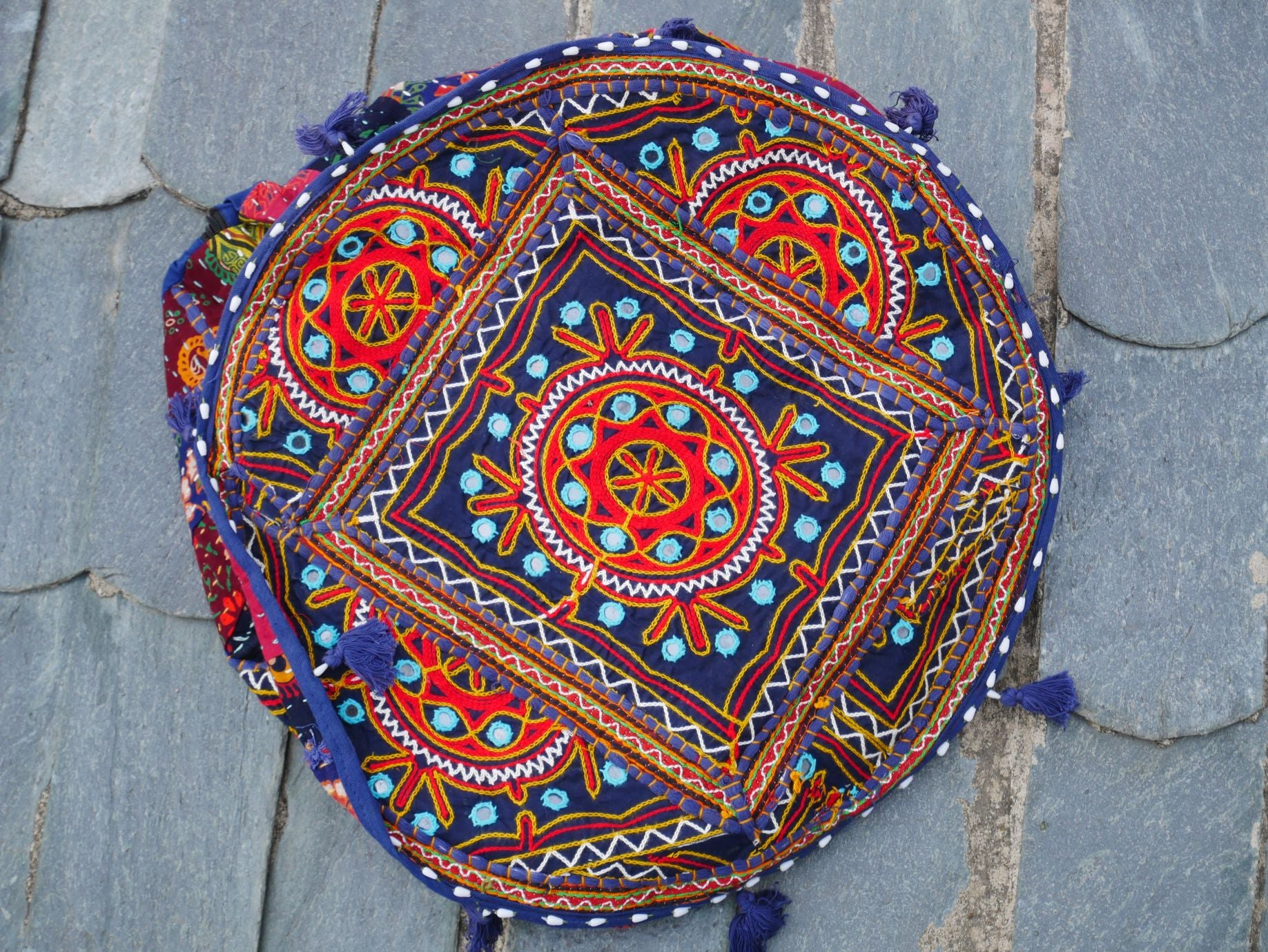 Floor pouf - floor cushion cover - Indian floor seating - patchwork floor pillow - Dark blue embroidered