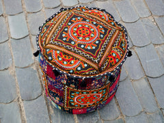 Floor pouf - floor cushion cover - Indian floor seating - patchwork floor pillow Black embroidered