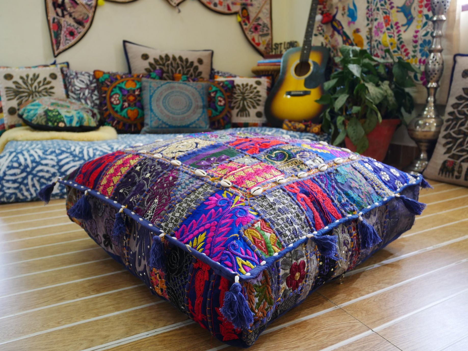 "Large square boho floor cushion ""Blue love"" - bohemian decor cushion cover"
