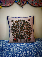 """Tree of life"" decorative cushion - large bohemian cutwork cushion"