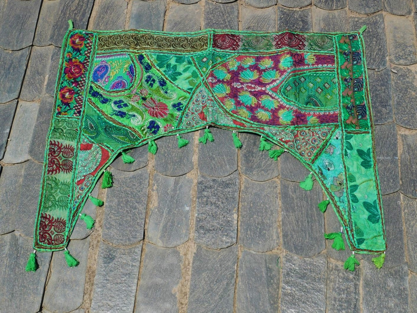 "Door hanging - Toran - gypsy curtain ""Boho Jungle"" window valance, Indian Bohemian wall decor"