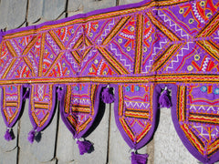 Door Toran- colorful wall decor - hippie decor - gypsy curtain - window valence - embroidered