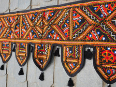 Door Toran- colorful wall decor - hippie decor - gypsy curtain - window valance - embroidered