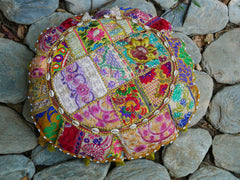 "Floor cushion ""Masala"" round patchwork cushion cover Boho floor pillow gypsy decor"