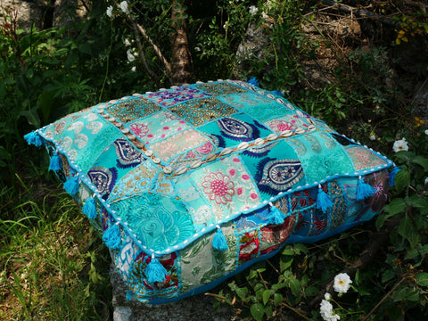 "Large square boho floor cushion ""Summer Sky"" - bohemian decor floor pillow cover"