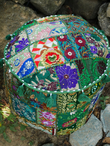 "Floor pouf - floor cushion cover - Indian floor seating - patchwork floor pillow ""Boho Jungle"""