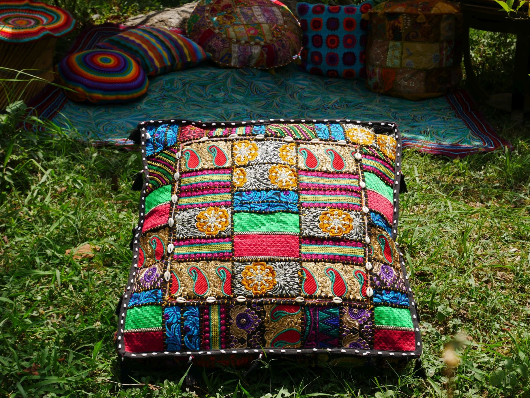 "Large square boho floor cushion ""Arabian Night"" - bohemian decor cushion cover"