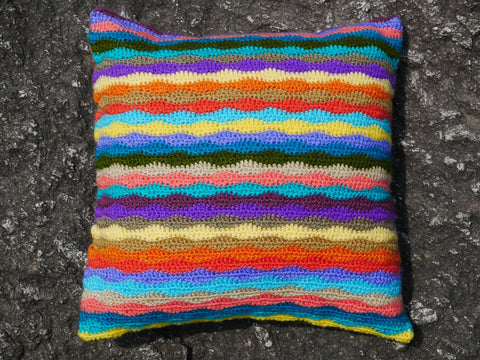 Crochet Pillow - Boho summer - colorful cushion cover - bohemian pillow - handmade hippie cushion
