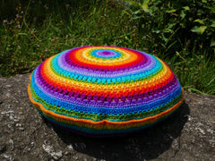 Crochet floor pillow -meditation cushion - round cushion cover - bohemian - hippie cushion
