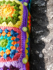 Crochet Pillow - Grannysquare - colorful cushion cover - bohemian pillow - handmade hippie cushion