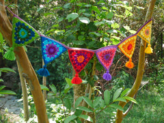 Crochet door Toran- rainbow door or window hanging - hippie decor - gypsy curtain - window valance