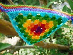 Crochet door hanging- rainbow door garland or window valence - hippie decor - gypsy curtain