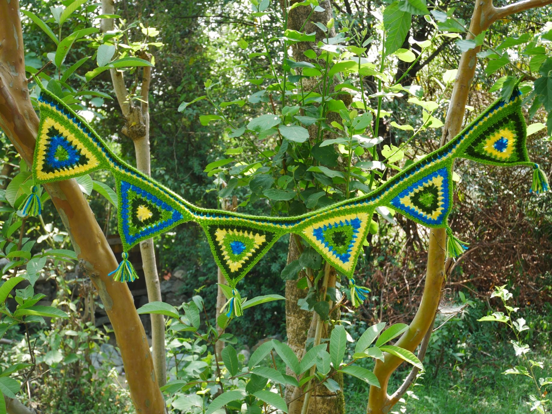 Crochet door hanging-  green door garland or window valence - hippie decor - gypsy curtain
