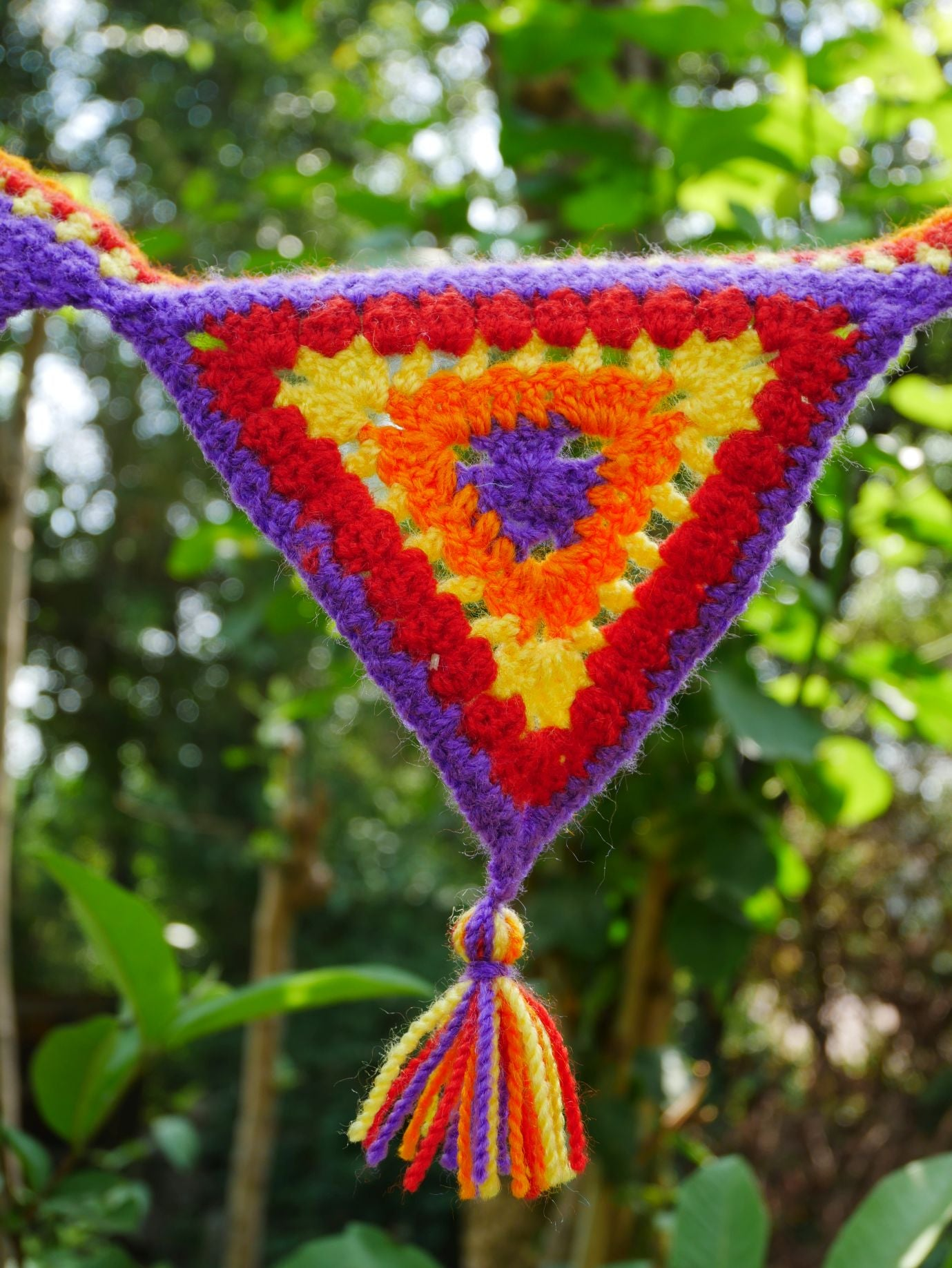 Crochet door hanging-  colorful door garland or window valence - hippie decor - gypsy curtain