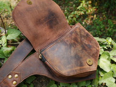 "Leather hip bag - brown belt bag - leather fanny pack - boho chic ""rustic"" leather waist bag"