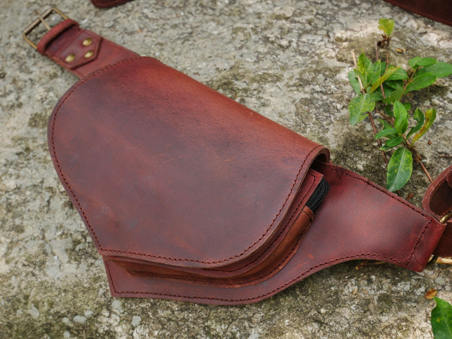 Leather hip bag - red- brown belt bag - leather fanny pack - boho waist bag - rustic leather