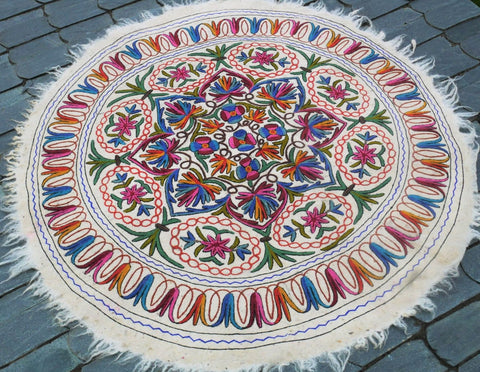 "Kashmiri ""Namda"" 5f Boho Mandala rug, large round rug felted wool rug embroidered colorful round carpet"