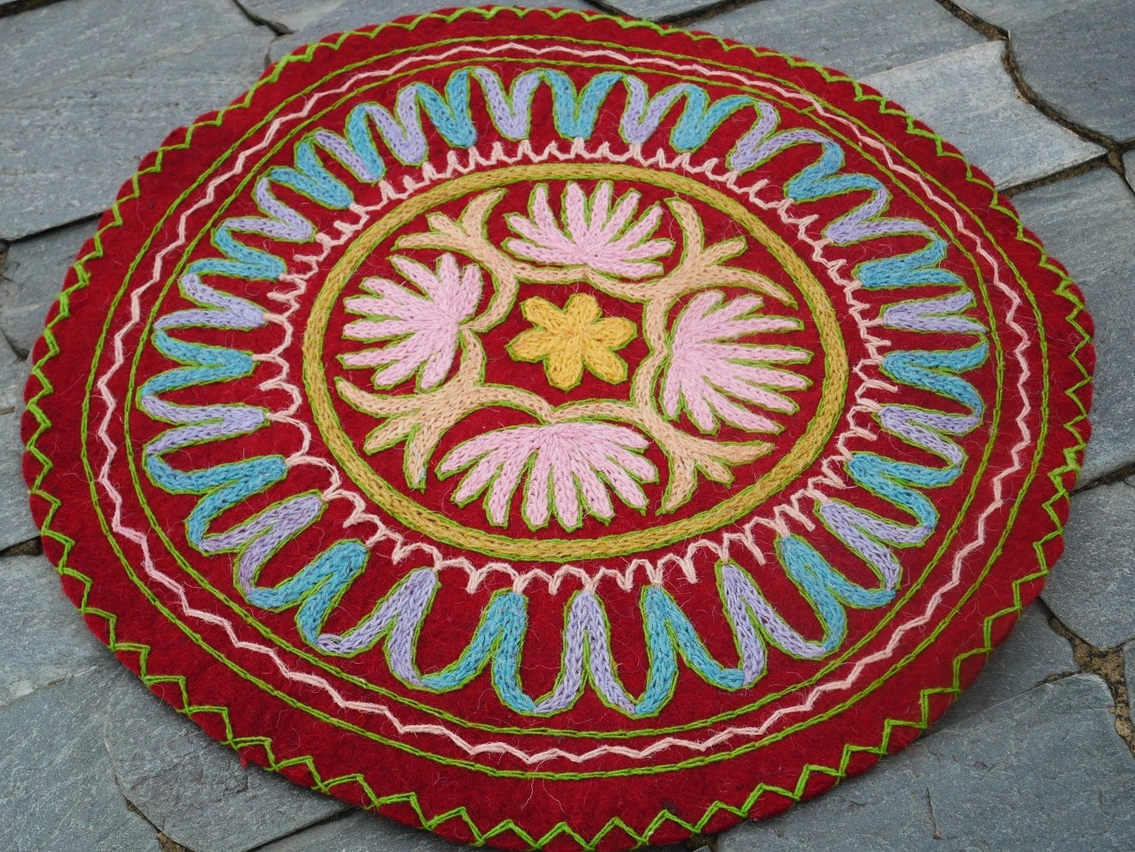 "Kashmiri floor seating pad hand felted embroidered ""Namda"" Meditation cushion seat pad made of pure wool"
