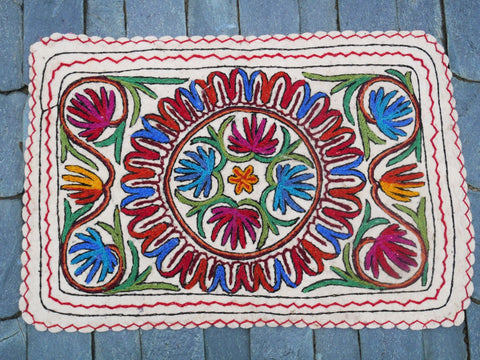 "Kashmiri ""Namda"" 2x3 Felted wool rug, Floor seating rug meditation rug embroidered bedside rug"