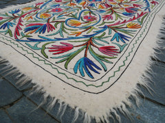 "Kashmiri ""Namda"" 6x4 large boho rug Floor rug, Hand felted wool rug embroidered rug area rug"