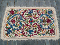 "Kashmiri ""Namda"" 6x4 colorful boho rug Floor rug Hand felted embroidered rug Wool area rug"