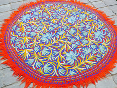 "Kashmiri ""Namda"" 5f large round rug felted wool rug embroidered wool rug boho area rug"