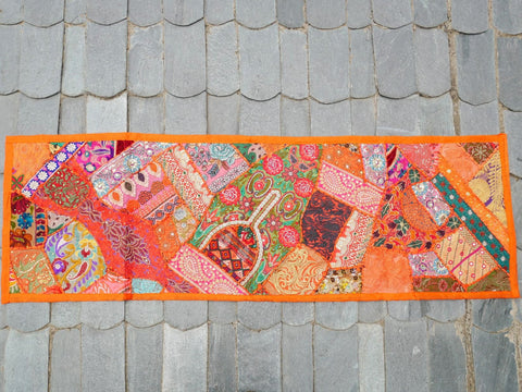 Table runner - vintage saree tapestry - orange table cover - hippie boho home decor