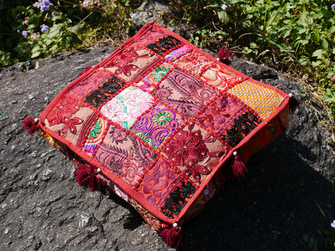 Square floor pillow | red floor pillow cover | meditation cushion for Indian bohemian floor seating or as decorative throw pillow | NO INLET