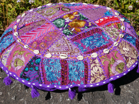 "Floor cushion ""Purple Rain"" round patchwork cushion cover Boho floor pillow gypsy decor"