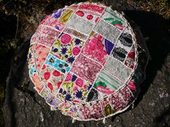 "Large floor cushion ""Bohemian white"" round patchwork cushion cover - Meditation cushion"