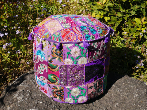 Floor pouf - floor cushion cover - Indian floor seating - patchwork floor pillow Purple