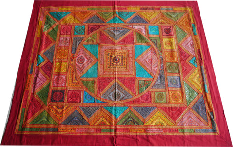 """Desert Mandala"" Hand embroidered bedspread - luxurious Indian patchwork quilt with mirrorwork for bohemian bedding"