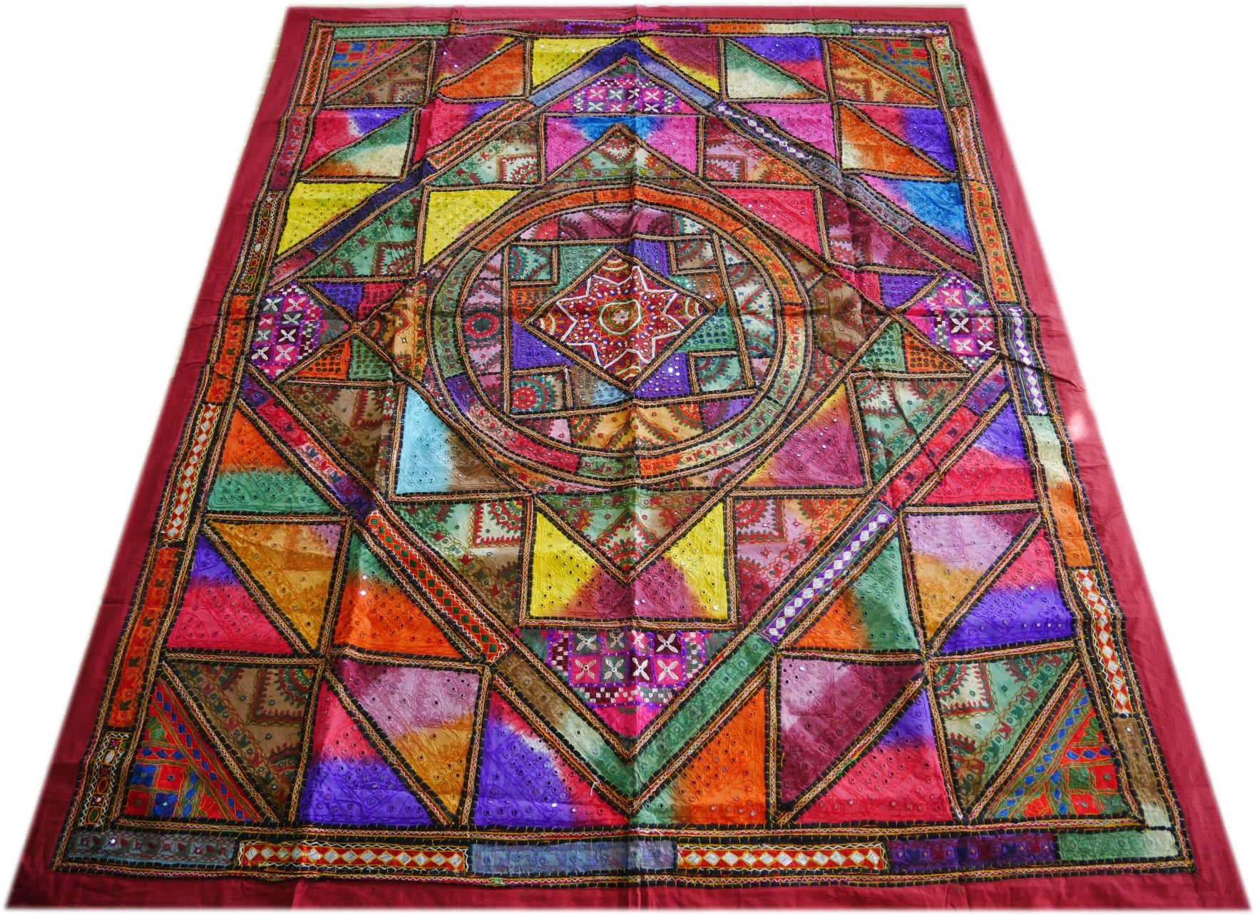"""Boho Geometry"" - hand embroidered colorful patchwork quilt - Indian luxury bedding"