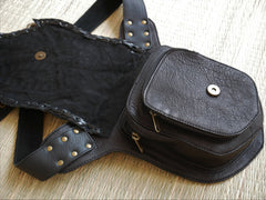 "Leather waist bag ""wild heart"" biker utility belt - steampunk - burning man hip bag"