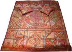 """Colors of the desert life"" patchwork bedspread - embroidered indian bedding set"