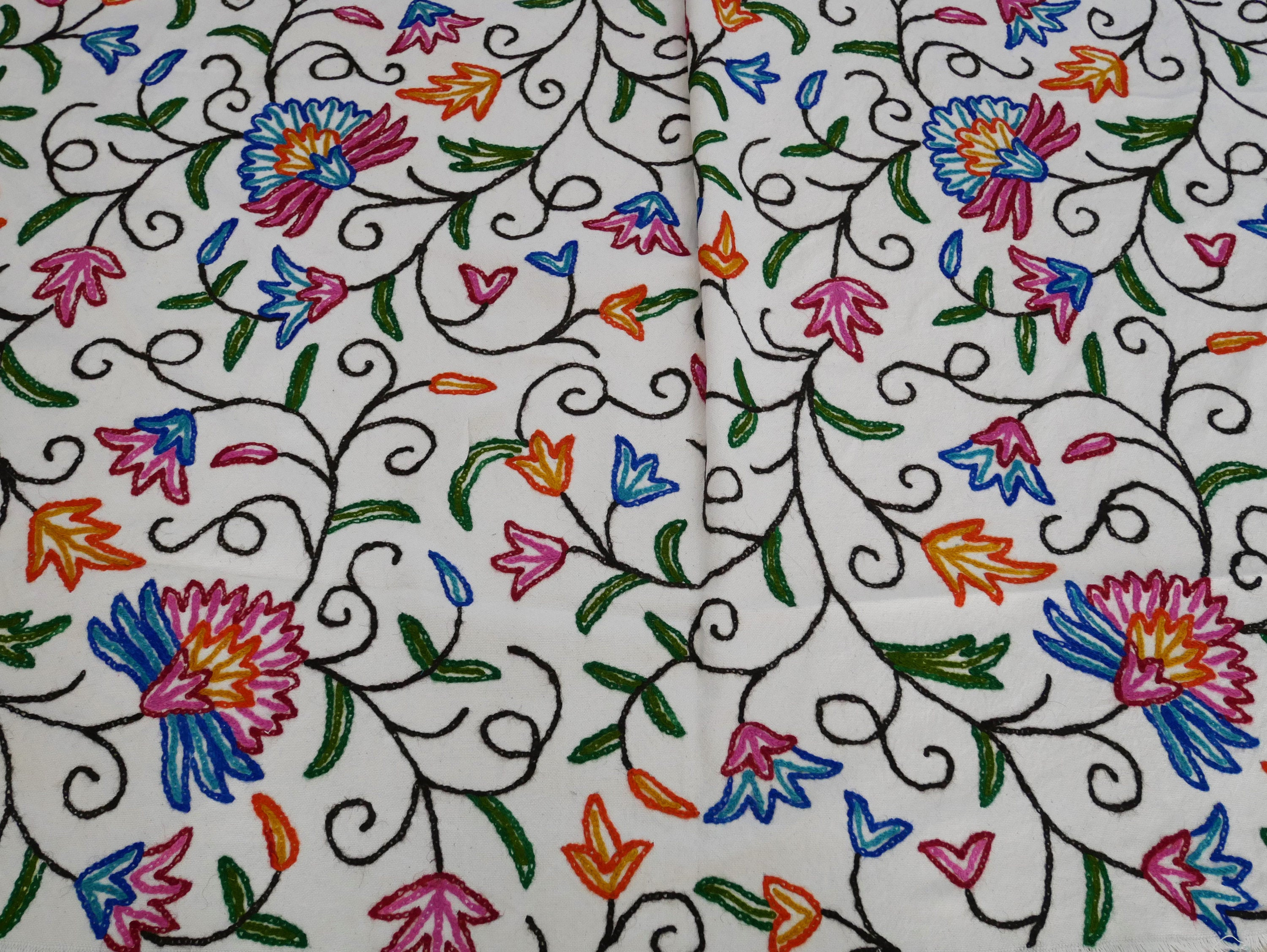 Kashmiri Crewel - fabric by the yard - floral embroidery - curtain fabric bohemian