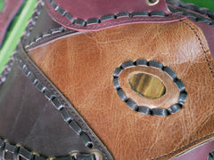 Leather hip bag - Tribal belt bag - festival fashion utility belt with gemstone