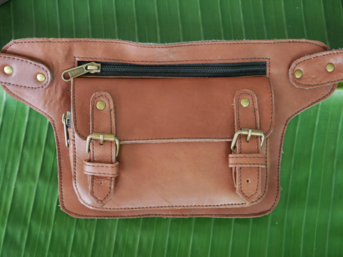 Leather hip bag - one pocket utility belt - boho belt bag - brown