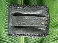 Leather belt pouch - biker style belt pocket -  fits any belt - black belt bag for him or her