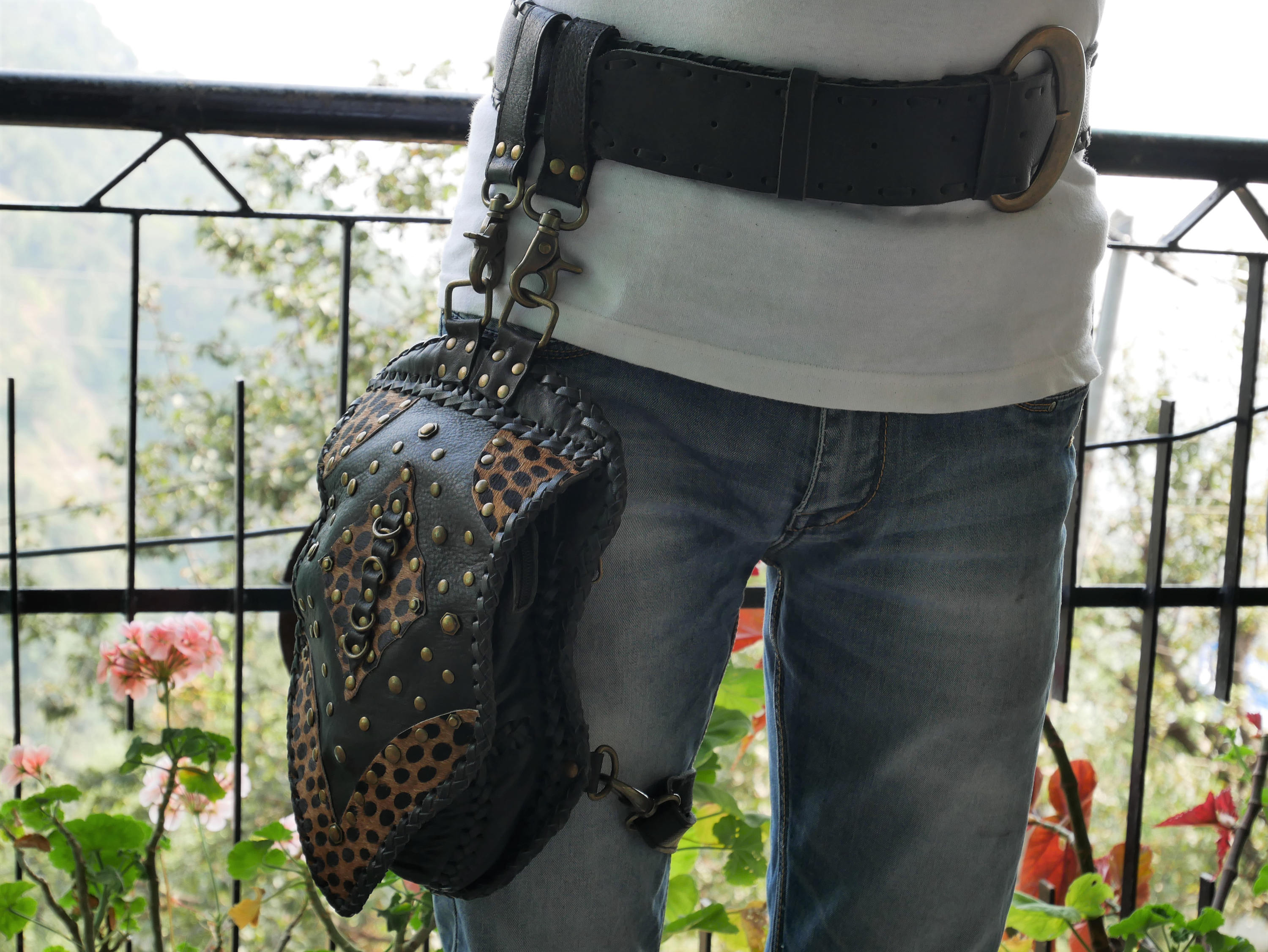 Warrior pack - thigh bag - leather thigh holster - burning man belt bag