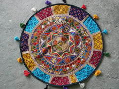 "Large round floor cushion - embroidered ""mandala"" cushion cover"