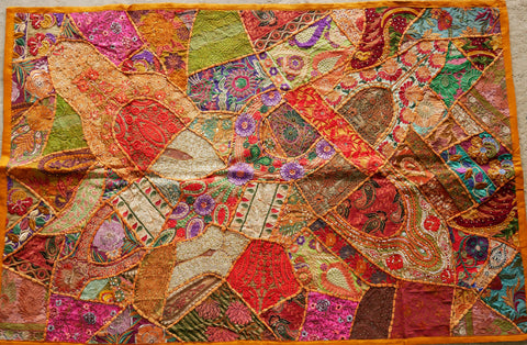 "Wall decor Bohemian tapestry patchwork wall hanging ""masala"" Indian wall decor colorful"