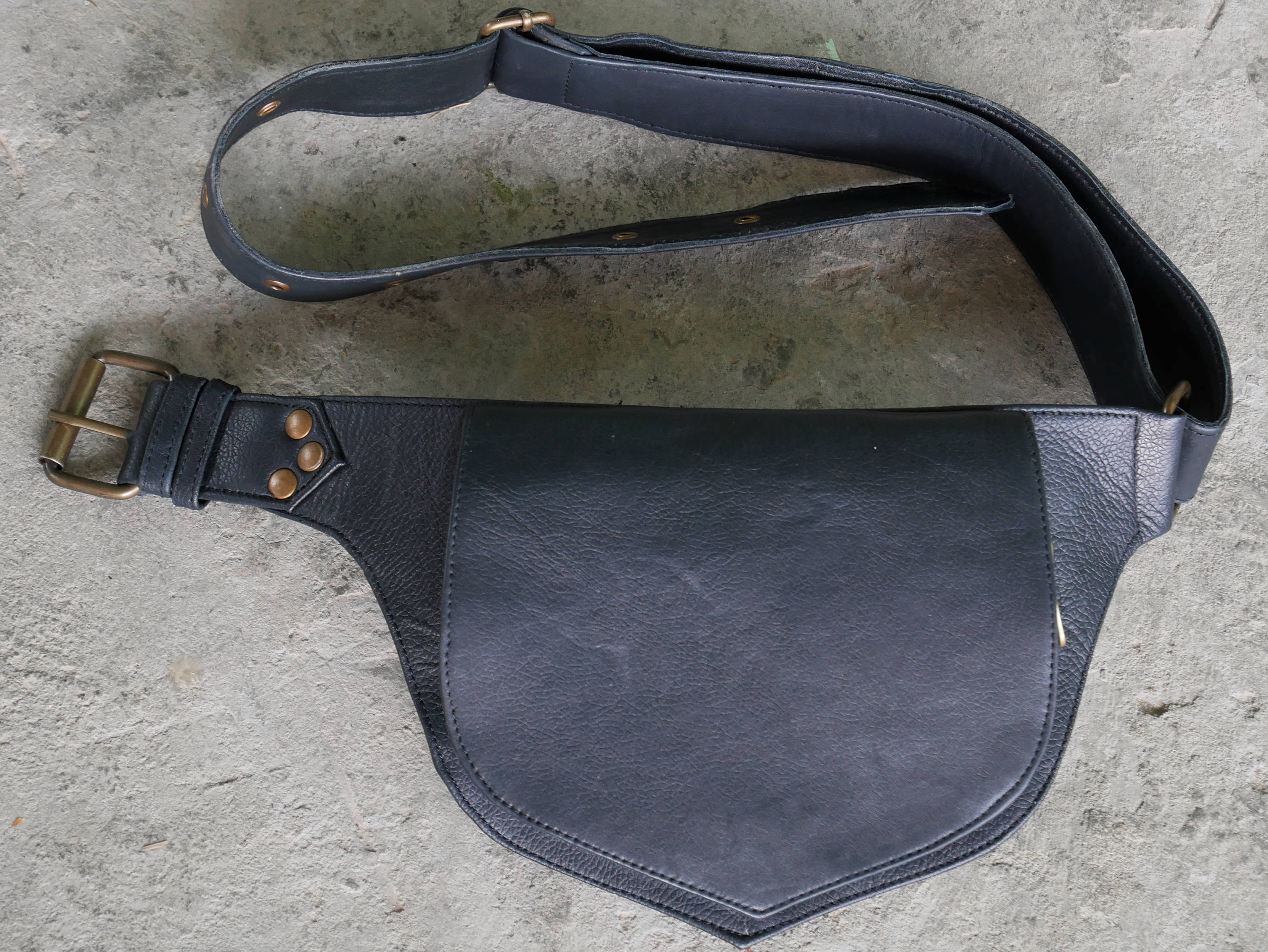 Leather hip bag - black waist bag - hippie chic fanny pack - boho leather belt bag