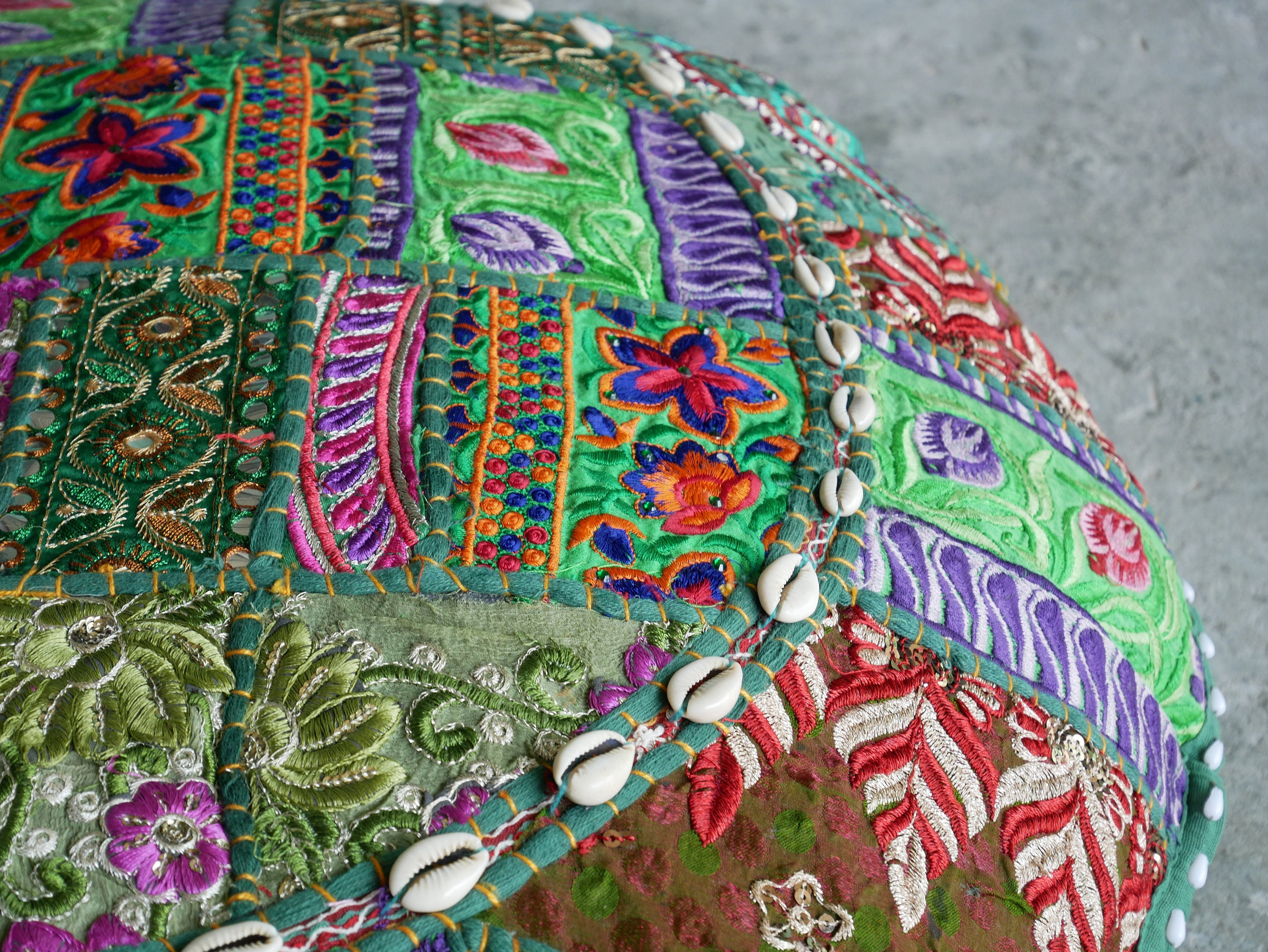 "Large Floor cushion ""Jungle flower"" - large round patchwork cushion cover boho floor pillow gypsy decor"